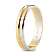 Alianza doble media caña Argyor oro blanco y amarillo 4mm ancho 5240526
