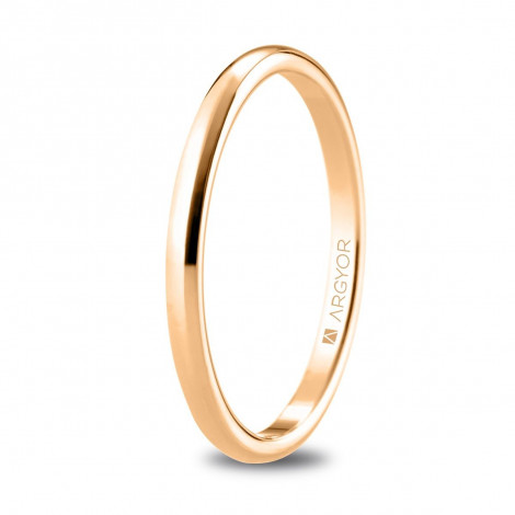 Alianza de boda media caña oro rosa con ancho de 1.8mm 5R18529