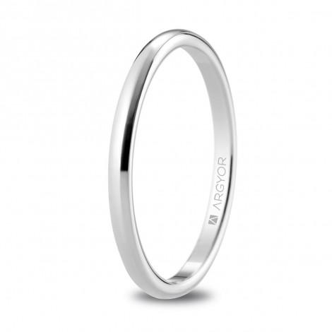 Alianza de boda oro blanco media caña con 1.8mm de ancho 5B18529