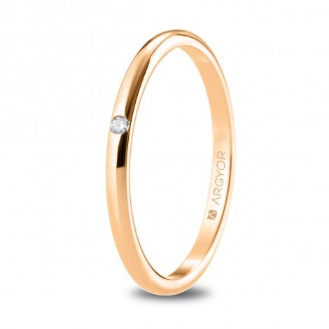 Alianza de boda 1,80mm anchura en oro rosa con diamante 5R18529D