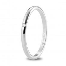 Alianza de boda 1,80mm media caña oro blanco con diamante 5B18529D