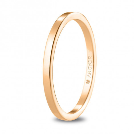Alianza de boda plana de oro rosa con 1,65 milímetros ancho 5R17530
