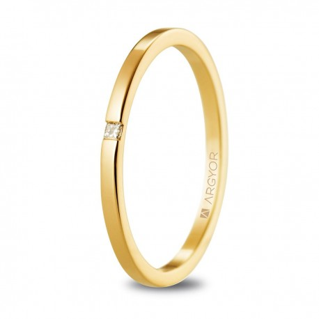 Alianza de boda plana oro amarillo 1,65mm con diamante 5117530P