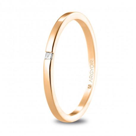 Alianza de boda oro rosa plana con diamante y 1,65mm 5R17530P
