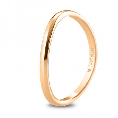 Alianza de boda media caña de oro rosa curvada con 1,8mm de ancho 5R18531