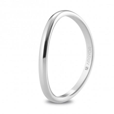 Alianza de boda oro blanco forma de media caña curvada 1,8mm 5B18531