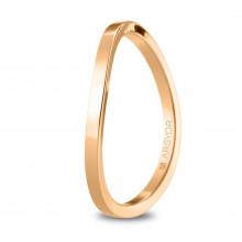 Alianza de boda oro rosa forma plana curvada con 1,65mm 5R17532