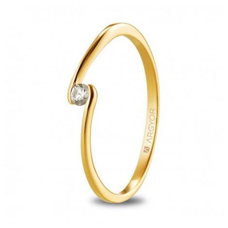 Anillo de oro amarillo con circonita redonda 74A0085Z