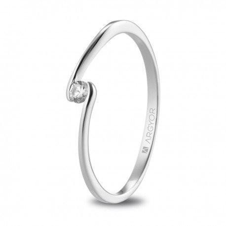 Anillo de oro blanco y diamante solitario con circonita 74B0085Z