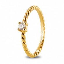 Anillo oro amarillo 18k trenzado con circonio redondo 74A0081Z