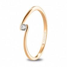 Anillo de compromiso fabricado en oro rosa con diamante 74R0085