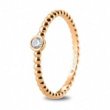 Anillo de oro rosa solitario con diamante talla brillante 74R0087