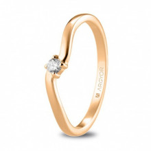 Sortija de oro rosa con diamante talla brillante de 0,06ct 74R0076