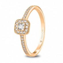 Precioso anillo de compromiso oro rosa con circontias 74R0091Z