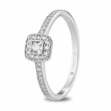 Precioso anillo de oro blanco de 18 quilates y circonitas 74B0091Z