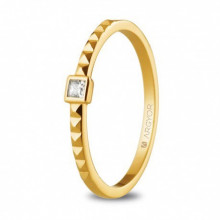 Anillo de compromiso oro amarillo diamante 0,05ct talla princesa 74A0086