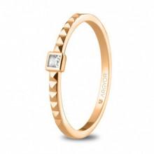 Anillo de oro rosa diamante 0,05ct talla princesa 74R0086