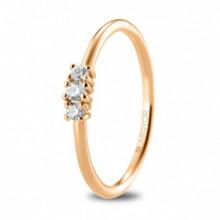 Anillo compromiso oro rosa con 3 diamantes talla brillante 74R0080