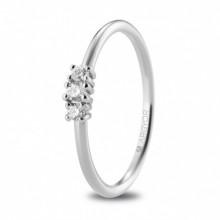 Anillo de compromiso con diamantes en garras oro blanco 74B0080