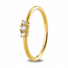 Solitario de oro amarillo con 3 diamantes talla brillante 74A0080