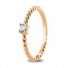 Anillo de compromiso en oro rosa de 18k con diamante 74R0081