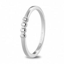Anillo compromiso de oro blanco con 3 diamantes 74B0079