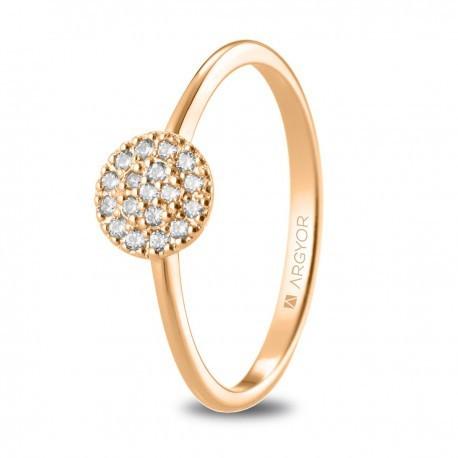 Anillo con rosetón de oro rosa y diamantes 0,13ct 74R0089