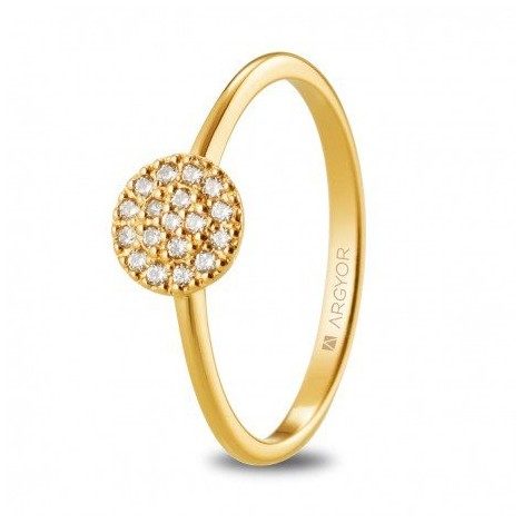 Anillo de compromiso rosetón de oro amarillo y diamantes 74A0089