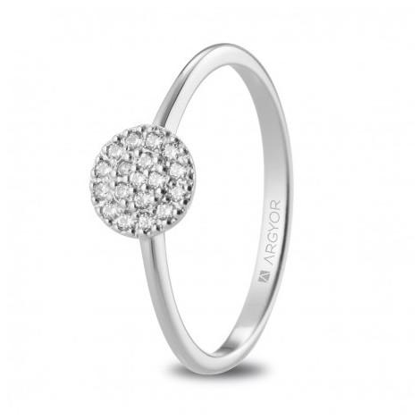 Anillo de pedida con rosetón de oro blanco y diamantes 74B0089