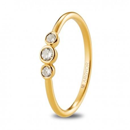 bc453c47fcd9 Anillo de compromiso oro amarillo 3 diamantes 0