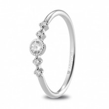 Anillo de compromiso oro blanco con 5 diamantes 0,16ct 74B0084