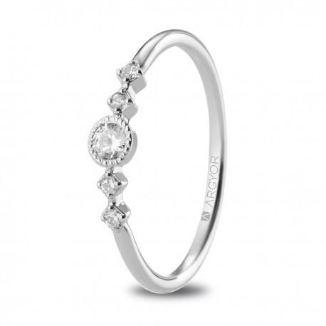 29aa23f34f24 Anillo de compromiso oro blanco con 5 diamantes 0