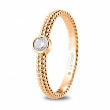 Anillo de oro rosa con diamante talla brillante de 0,14ct 74R0075