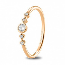 Anillo de compromiso oro rosa con 5 diamantes 0,16ct 74R0084