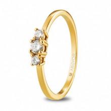Argolla de compromiso oro amarillo con 3 diamantes 0,19ct 74A0083