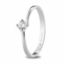 Anillo de pedida oro blanco con diamante talla brillante de 0,16ct 74B0072