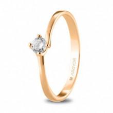 Solitario de pedida en oro rosa con diamante talla brillante 74R0072