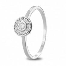 Anillo de compromiso en oro blanco con diamantes 74B0088