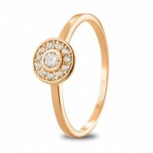 Anillo de compromiso en oro rosa con diamantes 74R0088