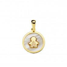 Colgante de nácar y oro amarillo niño 16888