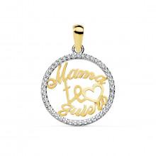 Colgante Mamá te quiero oro bicolor 16916