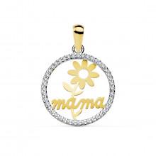 Colgante Mamá con flor en oro bicolor 16917