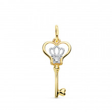 Colgante llave de oro amarillo corona de oro blanco 16946