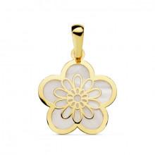Colgante flor oro amarillo y nácar 16825