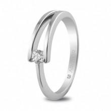 Anillo de compromiso de oro blanco con 1 diamantes de 0,10ct 74B0012