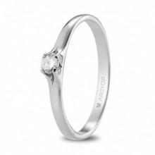 Anillo de compromiso oro blanco y diamante en 4 garras 74B0136