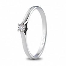 Anillo de oro blanco y pequeño diamante de 0,03 ct 74B0501