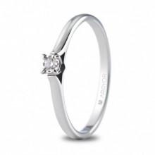 Anillo de pedida oro blanco y pequeño diamante de 0,05 ct 74B0502