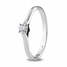 Sortija de compromiso de oro blanco y pequeño diamante 74B0503