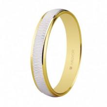 Alianza boda 3mm ancho bicolor facetada 5230430